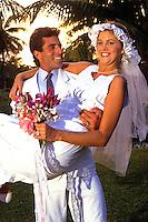 Young newlyweds at Caribbean wedding.