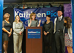 Bellmore, New York, USA. September 16, 2014. KATHLEEN RICE, Democratic congressional candidate (NY-04), joined by local LGBT actvitists, calls for congressional action both to pass legislation prohibiting employment discrimination on basis of sexual orientation and gender identity, and to totally repeal the Defense of Marriage Act. L-R, BARBARA SALVA of LITAC Long Island Transgender Advocacy Coalition; a LGBT advocate; candidate Rice at podium; TAWNI ENGEL Pride for Youth Program Leader; PETE CARNEY Director of Pride for Youth; and LINDA LEONARD Executive Director of Pride for Youth. Rice first toured Pride for Youth, a program that provides services for lesbian, gay, bisexual and transgender youth and their families.