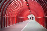 Red Tunnel with Two Cyclists at the SECC in Glasgow, Scotland
