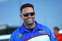 Jun 19, 2016; Bristol, TN, USA; NHRA funny car driver Dave Richards during the Thunder Valley Nationals at Bristol Dragway. Mandatory Credit: Mark J. Rebilas-USA TODAY Sports
