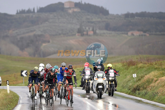 Michal Kwiatkowski (POL) Team Sky, Greg Van Avermaet (BEL) BMC and Zdenek Stybar (CZE) Quick-Step Floors on the wet roads during the 2017 Strade Bianche running 175km from Siena to Siena, Tuscany, Italy 4th March 2017.<br /> Picture: La Presse/Fabio Ferrari | Newsfile<br /> <br /> <br /> All photos usage must carry mandatory copyright credit (&copy; Newsfile | La Presse)