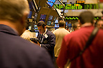 Traders on the floor of The New York Stock Exchange during a day of financial crissis when Lehman Brothers filed Chapter 11 for backruptcy protection. Wall Street, New York City, New York, USA, September 15, 2008