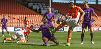 Blackpool's Colin Daniel sees his shot blocked in the first half<br /> <br /> Photographer Alex Dodd/CameraSport<br /> <br /> The EFL Sky Bet League Two - Blackpool v Cheltenham Town - Saturday 22nd April 2017 - Bloomfield Road - Blackpool<br /> <br /> World Copyright &copy; 2017 CameraSport. All rights reserved. 43 Linden Ave. Countesthorpe. Leicester. England. LE8 5PG - Tel: +44 (0) 116 277 4147 - admin@camerasport.com - www.camerasport.com