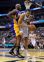 Lamar Odom of the Lakers pushes JaVale McGee of the Wizards out of bounds. Los Angeles defeated Washington 103-89 at the Verizon Center in Washington, DC on Tuesday, December 14, 2010. Alan P. Santos/DC Sports Box