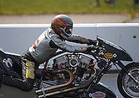 Jun 4, 2016; Epping , NH, USA; NHRA top fuel Harley motorcycle rider Frank Capone during qualifying for the New England Nationals at New England Dragway. Mandatory Credit: Mark J. Rebilas-USA TODAY Sports