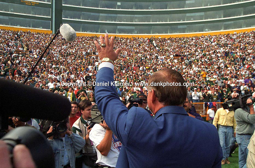 Former Green Bay Packers guard Jerry Kramer waves to fans at Lambeau Field prior to the September 15, 1996 game against the San Diego Chargers. Part of the Packers' commitment to the fans involves bringing back past Packers for an alumni appreciation day.