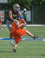 NWA Democrat-Gazette/ANTHONY REYES &bull; @NWATONYR<br /> Cameron Moss of Rogers Heritage makes a catch against Shiloh Christian Friday, July 10, 2015 during the Southwest Elite 7 on 7 tournament at Champions Stadium in Springdale.