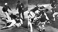 Oakland A's and Kansas City Royals fight:<br />Sal Bando confronts KC catcher Ed Kirkpatrick after being hit by pitch from Dick Drago, Banda lands punch decking Kirkpatrick and with help from teammate #10 Dave Duncan hits the ground. A's trainer Joe Romo (in white) and manager Dick Williams (on far left)  along with  Mike Epstein and others try to break up brawl. (photos Aug 1,1972 by Ron Riesterer)