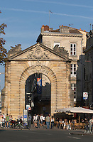 Porte Dijeaux on Place Gambetta. Cafe. Bordeaux city, Aquitaine, Gironde, France