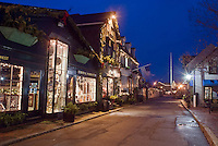 Rhode Island; Newport, Bannister's Wharf, dusk Christmas