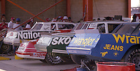 Cars in garage Winston 500 at Alabama International Motor Speedway in Talladega , AL on May 5, 1985. (Photo by Brian Cleary/www.bcpix.com)