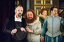 London, UK. 25.02.2014.  Shakespeare's Globe presents THE KNIGHT OF THE BURNING PESTLE, directed by Adele Thomas, in the Sam Wanamaker Playhouse. Picture shows: John Dougall (Venturewell), Paul Rider (Old Merrythought), Hannah McPake (Mistress Merrythought) and Alex Waldmann (Jasper). Photograph © Jane Hobson.