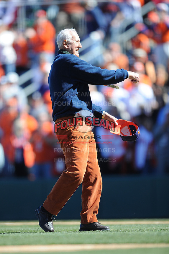 Bill Wilhelm (Former Head Coach) Clemson Tigers player has Rally Stack on head (Photo by Tony Farlow/Four Seam Images)