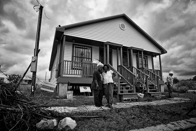 Now, five years later after Hurricane Katrina: Nacola A. Essex and Mary B. N. Jones rebuilt their own home from scratch where their house once stood that was washed away in the Lower 9th Ward in New Orleans.