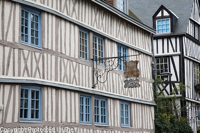 Traditional Facades of Buildings in Rouen, Normandy, France