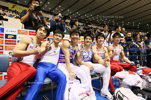 (L-R) Yusuke Tanaka, Yusuke Saito, Kenzo Shirai, Yuya Kamoto, Ryohei Kato, Kohei Uchimura, <br /> MAY 5, 2016 - Artistic Gymnastics : <br /> The 55th NHK Cup men's Individual All-Around, <br /> Horizontal Bar <br /> at Yoyogi 1st Gymnasium, Tokyo, Japan. <br /> (Photo by Yohei Osada/AFLO SPORT)
