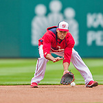 4 April 2014: Washington Nationals shortstop Ian Desmond warms up prior to the Home Opening Game against the Atlanta Braves at Nationals Park in Washington, DC. The Braves edged out the Nationals 2-1 in their first meeting of the season. Mandatory Credit: Ed Wolfstein Photo *** RAW (NEF) Image File Available ***