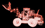 X-ray image of a loader (red on black) by Jim Wehtje, specialist in x-ray art and design images.