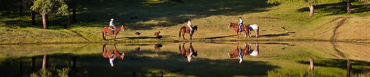 Farm hands on horseback along a calm pond
