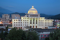 University of Berat building in the evening, in Berat, South-Central Albania, capital of the District of Berat and the County of Berat. Picture by Manuel Cohen