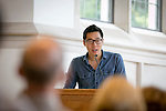 Tong Xiang, T'13, reads during poetry reading to honor life and work of Seamus Heaney in Goodson Chapel.