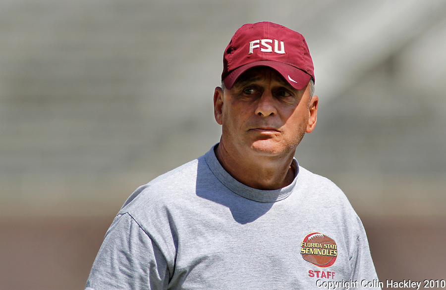 TALLAHASSEE, FL 3/27/10-FSU FB32710 CH-Florida State Offensive Line Coach Rick Trickett prior to scrimmage Saturday at Doak Campbell Stadium in Tallahassee. .COLIN HACKLEY PHOTO