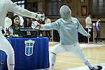 11 February 2017: Duke's Duncan De Caire (right) defeated MIT's Connor Dotson (left) in Saber. The Duke University Blue Devils hosted the Massachusetts Institute of Technology Engineers at Card Gym in Durham, North Carolina in a 2017 College Men's Fencing match. Duke won the dual match 19-8 overall, 7-2 Foil, 6-3 Epee, and 6-3 Saber.