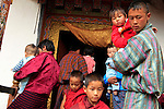 Asia, Bhutan, Punakha. Entrance to Chimi Lhakhang temple, a sacred pilgrimage site for Bhutanese couples seeking fertility blessings.