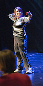 """One of the athletes takes a self-portrait during a break in rehearsals.  Special Olympics Surrey put on a show,   """"Beyond the Stars"""", at the Rose Theatre, Kingston upon Thames to raise money for the  SOGB team.  The Special Olympics are for athletes with learning disabilities."""