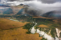 Aerial of the Hammond River Canyon, Gates of the Arctic National Park, Brooks range mountains, Alaska.