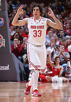 Ohio State Buckeyes guard Amedeo Della Valle (33) reacts after sinking a 3-point basket in the first half of the college basketball game between the Ohio State Buckeyes and the Maryland Terrapins at the Jerome Schottenstein Center in Columbus, Wednesday evening, December 4, 2013. As of half time the Ohio State Buckeyes led the Maryland Terrapins 43 - 26. (The Columbus Dispatch / Eamon Queeney)
