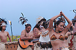 Dressed in traditional costume, Rapa Nui natives sing and dance. Easter Island, Chile
