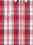 Mens shirt with red white tartan pattern background