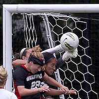 Boston College goalkeeper Jillian Mastroianni (30) punches a corner kick. Boston College defeated North Carolina State,1-0, on Newton Campus Field, on October 23, 2011.