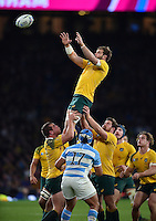 Ben McCalman of Australia rises high to win lineout ball. Rugby World Cup Semi Final between Argentina v Australia on October 25, 2015 at Twickenham Stadium in London, England. Photo by: Patrick Khachfe / Onside Images