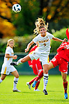 14 October 2010: University of Vermont Catamount midfielder Jess Herbst (9), a Sophomore from Webster, NY, in action against the University of Hartford Hawks at Centennial Field in Burlington, Vermont. The Hawks defeated the Lady Cats 6-2 in America East play. Mandatory Credit: Ed Wolfstein Photo