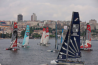 Extreme Sailing Series 2011. Act 3.Turkey . Istanbul.Groupe Edmond De Rothschild skippered by Pierre Pennec with teammates Christophe Espagnon,Thierry Fouchier and Herve Cunningham.Credit Lloyd Images