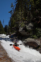 """Kayaker on Silver Creek 3"" - This kayaker was photographed on Silver Creek - South Fork, near Icehouse Reservoir, CA."