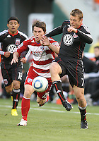 Adam Cristman #7 of D.C. United battles against Zach Loyd #19 of F.C. Dallas during a US Open Cup match on April 28 2010, at RFK Stadium in Washington D.C. United won 4-2.