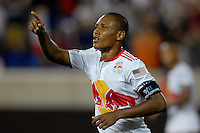 Juan Agudelo (17) of the New York Red Bulls celebrates scoring. The New York Red Bulls  and the Vancouver Whitecaps played to a 1-1 tie during a Major League Soccer (MLS) match at Red Bull Arena in Harrison, NJ, on September 10, 2011.