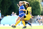 30 August 2013: Duke's Kaitlyn Kerr (5) is defended by Kennesaw State's Tasia Williams (2). The Duke University Blue Devils played the Kennesaw State University Owls at Fetzer Field in Chapel Hill, NC in a 2013 NCAA Division I Women's Soccer match. Duke won 1-0.