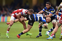 Tom Homer of Bath Rugby is tackled. Aviva Premiership match, between Bath Rugby and Gloucester Rugby on April 30, 2017 at the Recreation Ground in Bath, England. Photo by: Patrick Khachfe / Onside Images