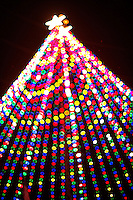Thousands of multi-color Christmas lights shine on the Zilker Park Holiday Tree in Zilker Park. Visiting the tree is an annual event for families and favorite event for Children of all ages.