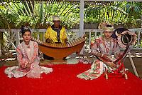 Myanmar, Burma. Bagan.  Traditional Burmese Musicians Performing on the Xylophone (Pattalar) and Boat-shaped Harp (Saung Gauk).