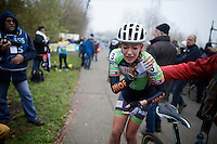 Sophie de Boer (NLD) crashed in the last lap and kept going until the finish line (to protect her overall lead in the bpost series), but cried out the pain once finished while reaching for her damaged shoulder.<br /> <br /> Flandriencross Hamme 2014