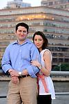 Sunset, engagement photos along a West Side dock on the Hudson River.  (Manhattan, New York City).