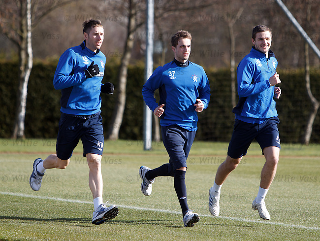 Kirk Broadfoot, Andrew Shnnie and Jamie Ness training as they finish their rehabilitation from injury