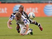 DC United defender Rodney Wallace (22) fouls Kansas City Wizards midfielder Chance Myers (7). DC United defeated The Kansas City Wizards  2-0 at RFK Stadium, Wednesday May 5, 2010.