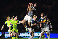 Aaron Morris of Harlequins claims the ball in the air. Anglo-Welsh Cup match, between Harlequins and Sale Sharks on February 3, 2017 at the Twickenham Stoop in London, England. Photo by: Patrick Khachfe / JMP