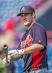 11 March 2013: Atlanta Braves infielder Joe Leonard awaits his turn in the batting cage prior to a Spring Training game against the Washington Nationals at Space Coast Stadium in Viera, Florida. The Braves defeated the Nationals 7-2 in Grapefruit League play. Mandatory Credit: Ed Wolfstein Photo *** RAW (NEF) Image File Available ***